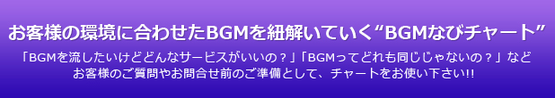 """お客様の環境に合わせたBGMを紐解いていく""""BGMなびチャート"""""""